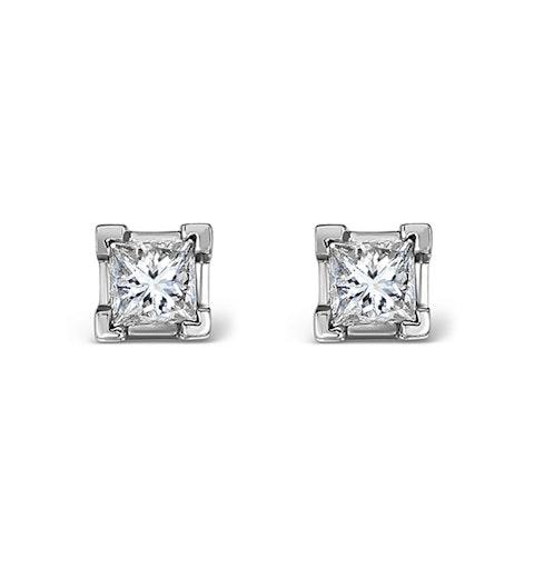 Platinum Princess Diamond Earrings - 0.30CT - G/VS - 3mm - image 1