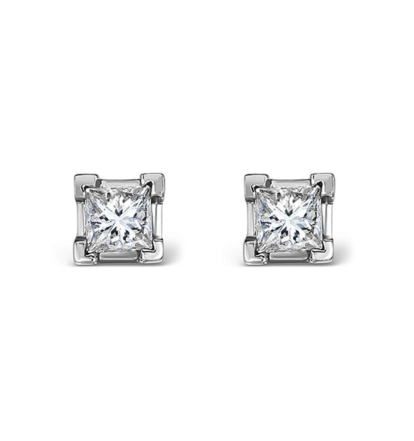 18K White Gold Princess Diamond Earrings - 0.30CT - G/VS - 3mm - image 1