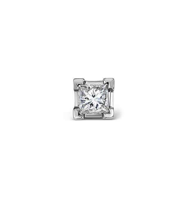 Single Stud Princess Diamond Earring 0.25ct H/Si in 18KW Gold - 3.4mm - image 1
