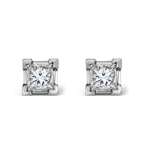 18K White Gold Princess Diamond Earrings - 0.50CT - H/SI - 3.4mm