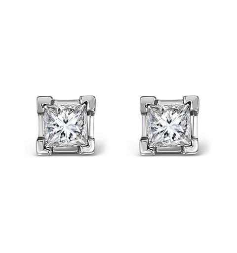 18K White Gold Princess Diamond Earrings - 0.50CT - G/VS - 3.4mm - image 1