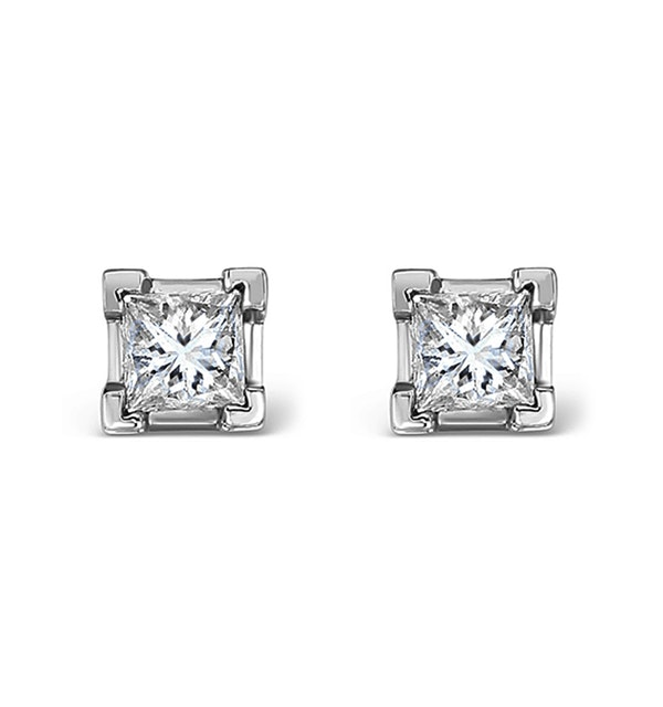 18K White Gold Princess Diamond Earrings - 0.50CT - H/SI - 3.4mm - image 1