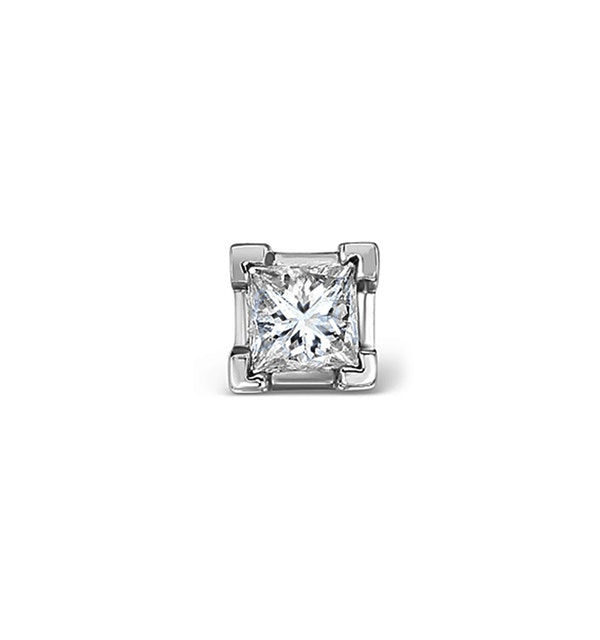 Single Stud Princess Diamond Earring 0.50ct H/Si in 18KW Gold - 4.8mm - image 1