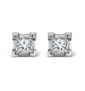 18K White Gold Princess Diamond Earrings - 0.66CT - H/SI - 3.8mm