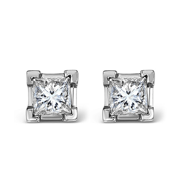 18K White Gold Princess Diamond Earrings - 0.66CT - H/SI - 3.8mm - image 1