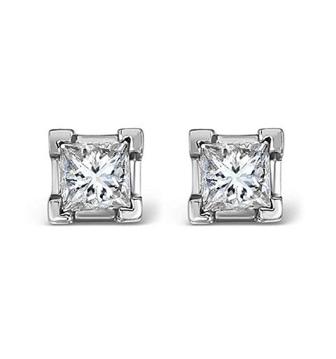 Platinum Princess Diamond Earrings - 0.66CT - G/VS - 3.8mm - image 1