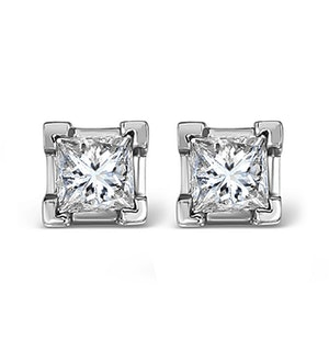 18K White Gold Princess Diamond Earrings - 1CT - G/VS - 4.8mm