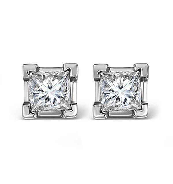 18K White Gold Princess Diamond Earrings - 1CT - H/SI - 4.8mm - image 1
