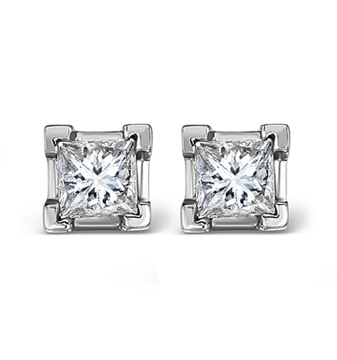 18K White Gold Princess Diamond Earrings - 1CT - G/VS - 4.8mm - image 1