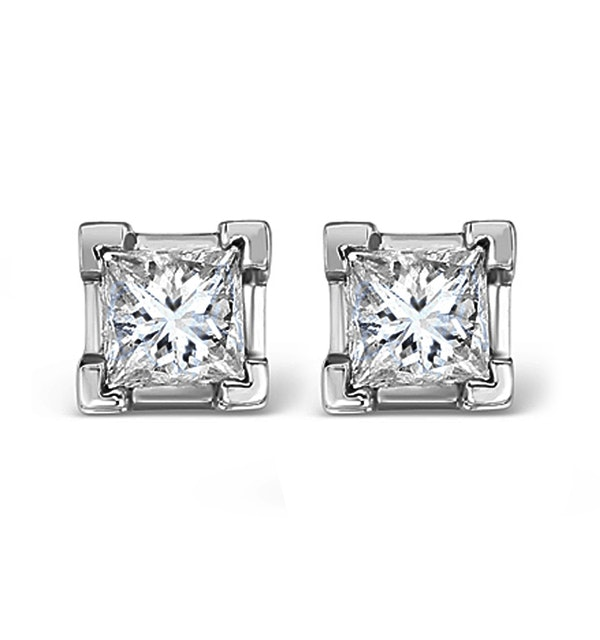Platinum Princess Diamond Earrings - 1CT - H/SI - 4.8mm - image 1