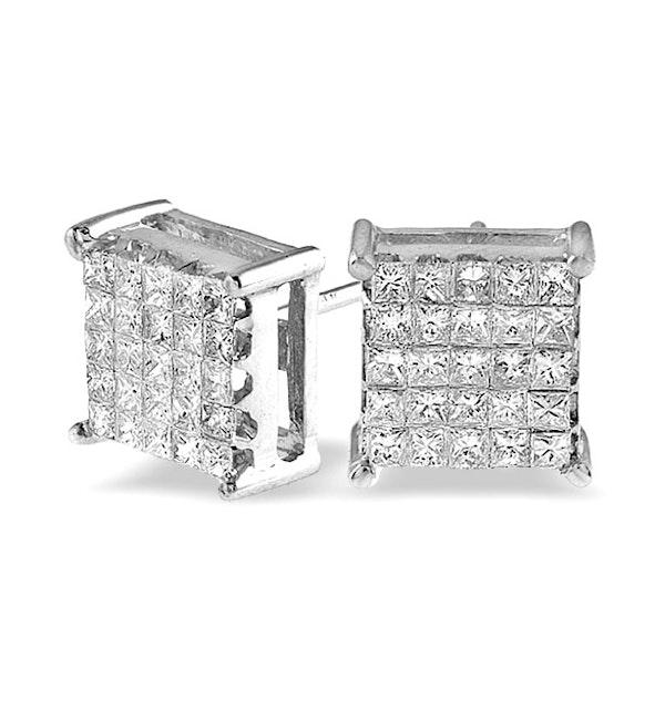 Diamond 0.77ct 18K White Gold Earrings - RTC-P3373 - image 1