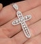 Diamond Pyrus Cross 1.40CT Pendant Necklace in 18K White Gold - image 3
