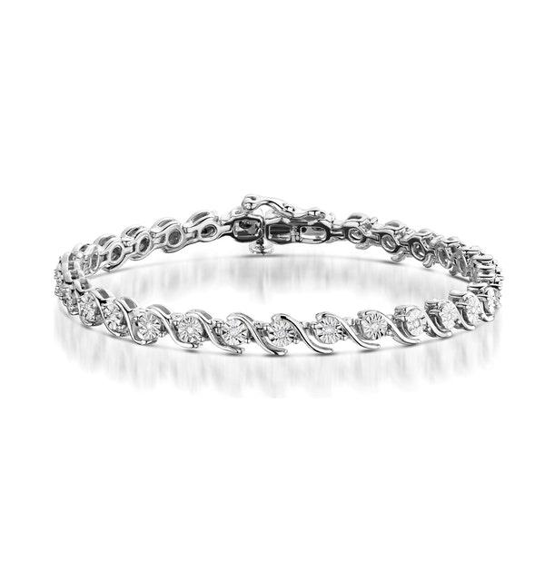 0.19ct Diamond and Silver Twist Bracelet - UD3241 - image 1