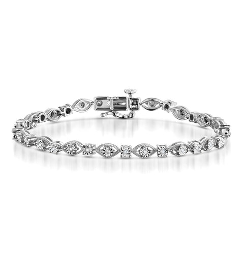 0.18ct Diamond and Silver Bracelet - UD3252 - image 1
