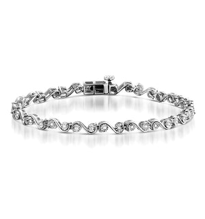 0.21ct Diamond and Silver Twist Bracelet - UD3253