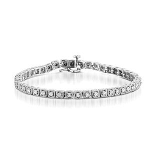 0.19ct Diamond and Silver Box Vintage Bracelet - UD3254