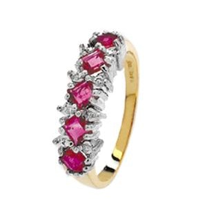Diamond and Ruby 9K Gold Ring - RTC-A3313