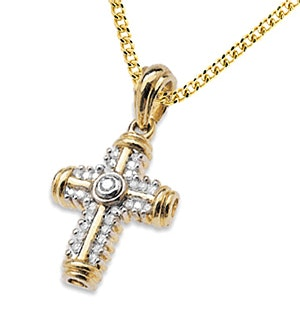 9K Gold Diamond Detail Cross (0.25ct)