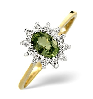 Green Sapphire 6 x 4mm And Diamond 9K Yellow Gold Ring