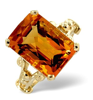 Citrine 14 x 10mm And 9K Gold Ring