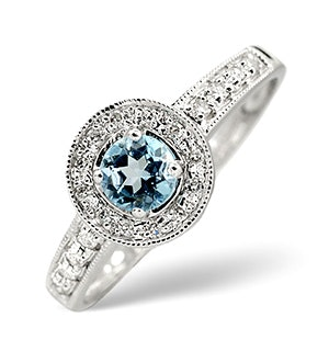 0.35CT Blue Topaz And Diamond 9K White Gold Ring - Size T