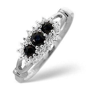 Sapphire And 0.34ct Diamond 9K White Gold Ring - Size V
