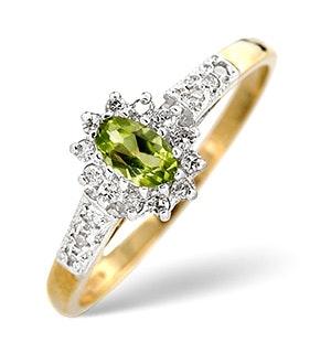 Peridot 5 x 3mm And Diamond 9K Yellow Gold Ring  A4213