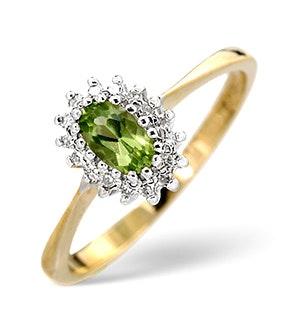 Peridot 5 x 3mm And Diamond 9K Yellow Gold Ring