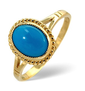 Turquoise 1.6CT 9K Yellow Gold Ring