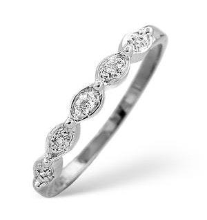 Half Eternity Ring 0.02CT Diamond 9K White Gold