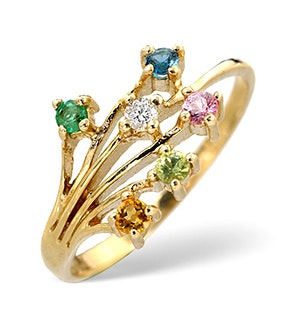 Multi Gem Stone And Diamond 9K Gold Ring