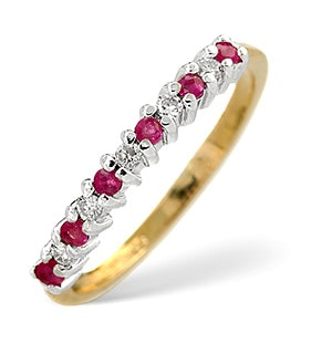 Ruby 0.16ct And Diamond 9K Gold Ring