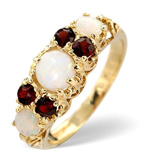 Opal 0.66CT And Garnet 9K Yellow Gold Ring