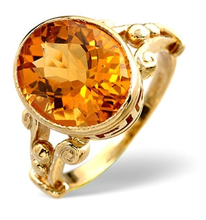 Citrine 12 x 10mm 9K Yellow Gold Ring
