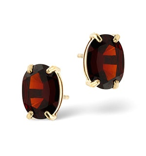 Garnet 7 x 5 mm 9K Yellow Gold Earrings