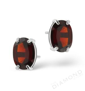 Garnet 7 x 5mm and 9K White Gold Earrings