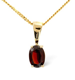 7mm x 5mm Garnet 9K Gold Pendant Necklace - B3388