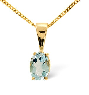 Blue Topaz 7 x 5mm 9K Yellow Gold Pendant Necklace
