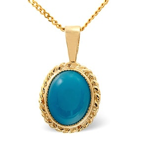 Turquoise 9 x7mm 9K Yellow Gold Pendant Necklace