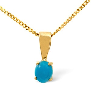 Turquoise 5 x 4mm 9K Yellow Gold Pendant Necklace