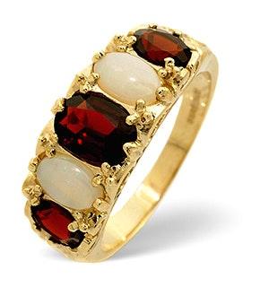 Garnet 7 x 5mm And Opal 6 x 4mm 9K Gold Ring