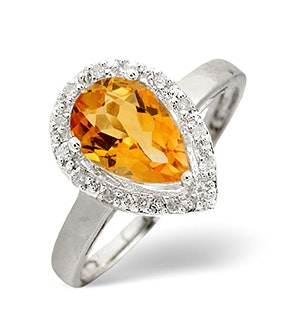 Citrine 1.31CT And Diamond 9K White Gold Ring