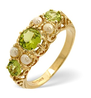 Peridot 1.3CT And Pearl 9K Yellow Gold Ring