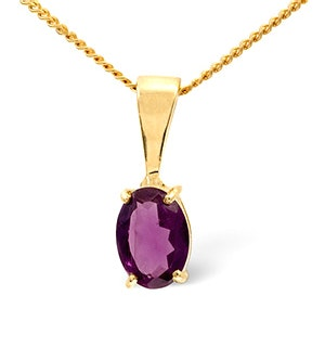 Amethyst 7 x 5mm 9K Yellow Gold Pendant