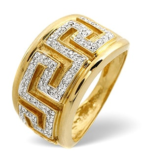 Diamond Greek Key Ring 0.20CT Diamond 9K Yellow Gold