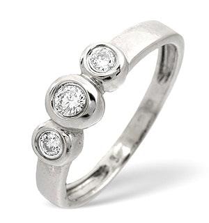 Trilogy Ring 0.16CT Diamond 9K White Gold