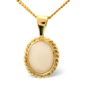Opal 9 x 7mm 9K Yellow Gold Pendant Necklace