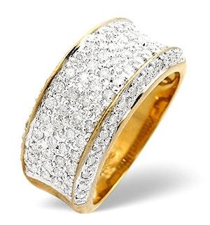 Pave Ring 0.94CT Diamond 9K Yellow Gold