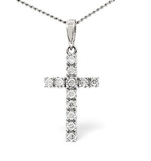 Cross Pendant 0.22CT Diamond 9K White Gold