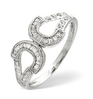 Horseshoe Ring 0.33CT Diamond 9K White Gold